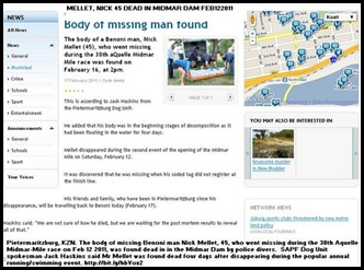 Mellet Nick 45 Benoni found dead Midmar Lake PmaritzburgFeb172011