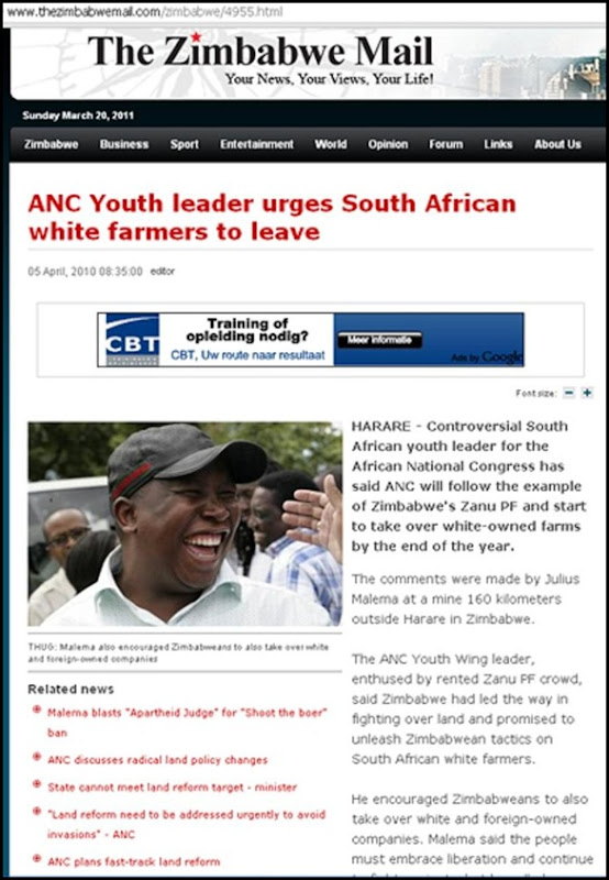 Antiwhite hatespeech White Man murdered claim Julius Malema article ZimMail JULIUS MALEMA ALL WHITE FARMERS MUST LEAVE
