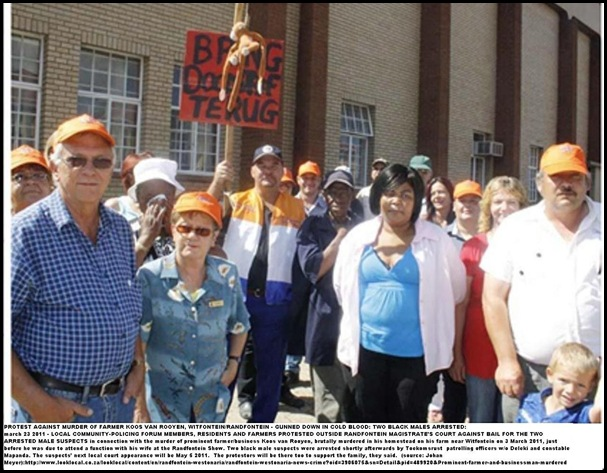 Van Rooyen Koos murdered Randfontein court protest March 242011