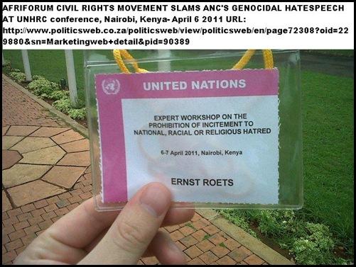 AfriForum Ernst Roets addresses UN about ANC hatespeechApril62011