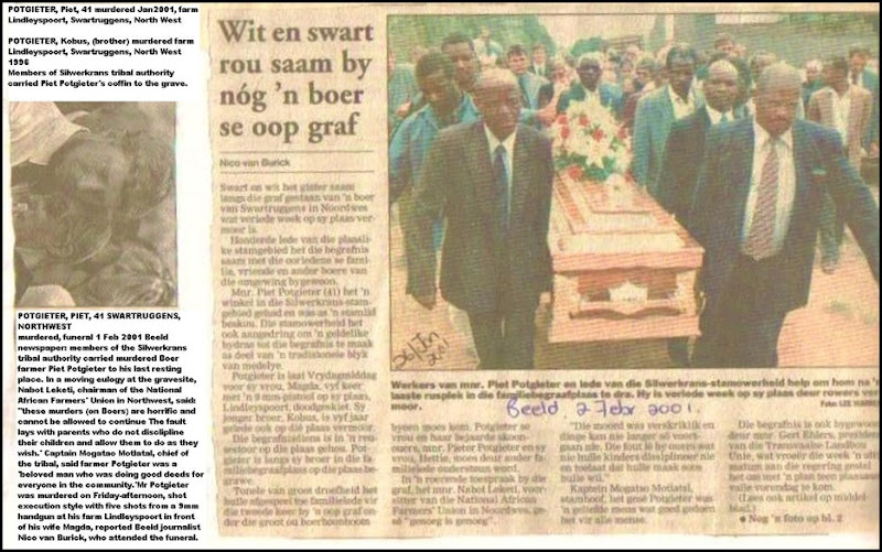 Potgieter Piet NW farmer murdered Silverkrans tribal authority carried coffin 2FEB2001 BEELD
