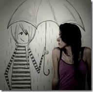 chica y dibujo en lluvia