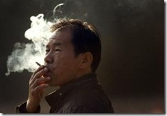 A Chinese enjoying smoking