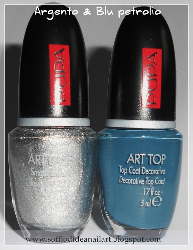 Pupa-Nail-Art-argento-blu-petrolio