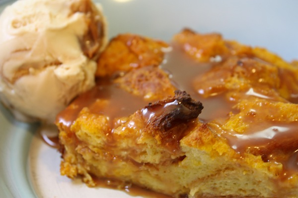 SwissBeets: Pumpkin Brioche Bread Pudding with Caramel Sauce