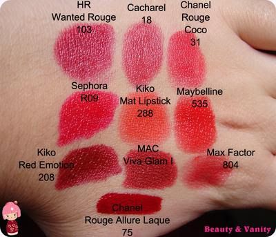 I miei rossetti: rosso/fragola - swatches