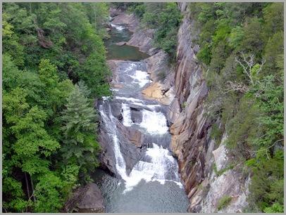 Close up of l'Eau d'Or Falls