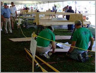 Teams in various stages of construction