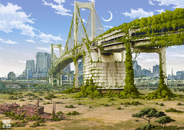 Beautiful Illustration of Post Apocalyptic Tokyo by Tokyogenso