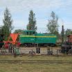 Esillä oli myös museorautatien uutta kalustoa. Etualalla uudet soravaunut ja TU4-veturi.