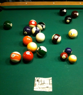 In The Image Below You Can See The Balls On A 9u0027 Pool Table. The Cluster Of  1, 2, And 7 Balls In The Lower Right Corner Are Standard Pool Balls.