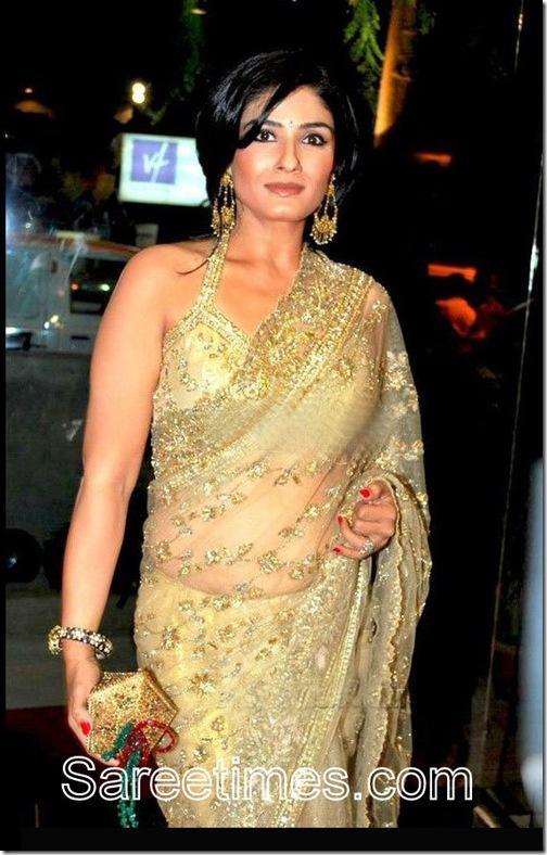 Raveena_Tandon_Gold_Saree