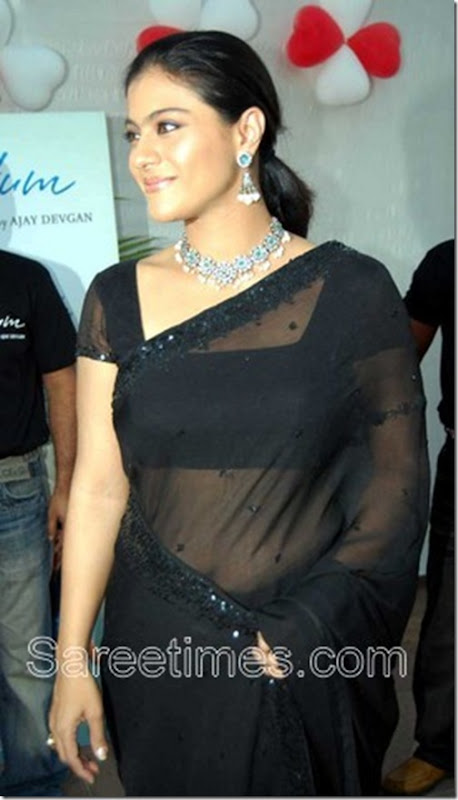 kajol black saree pics sari bollywood actress photos