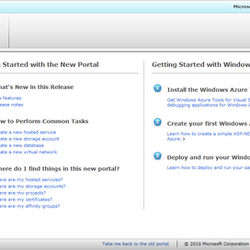 Novo Portal Windows Azure Platform