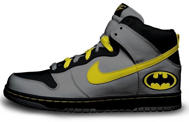 Tênis Nike cano alto personalizado com logo do Batman.