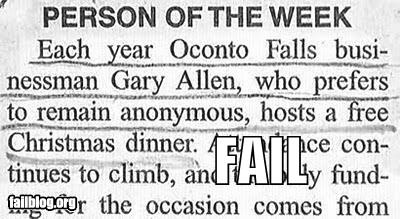 Matéria de jornal sobre pessoa que quer permanecer anônima, muito embora seu nome seja divulgado.