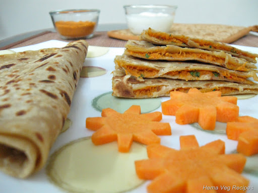 Carrot Cheese Paratha/Parota