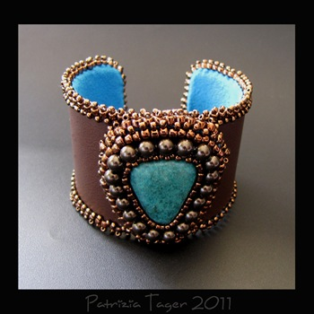 Brown & Turquoise Leather Cuff 02 copy