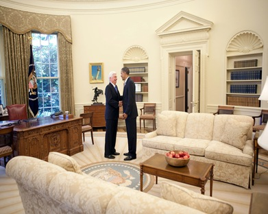 President Barack Obama meets with Sen. Chris Dodd in the Oval Office following a health care event in the Rose Garden of the White House July 15, 2009.   (Official White House Photo by Pete Souza)  This official White House photograph is being made available for publication by news organizations and/or for personal use printing by the subject(s) of the photograph. The photograph may not be manipulated in any way or used in materials, advertisements, products, or promotions that in any way suggest approval or endorsement of the President, the First Family, or the White House.
