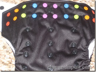 Black GoGreen Diaper with multicolored snaps and 4 rise settings