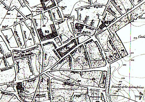 Plano de 1884 donde se ve el ennegrecimiento de los bordes de la manzana.