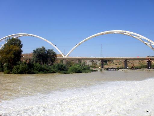 El puente casi completo desde el río.