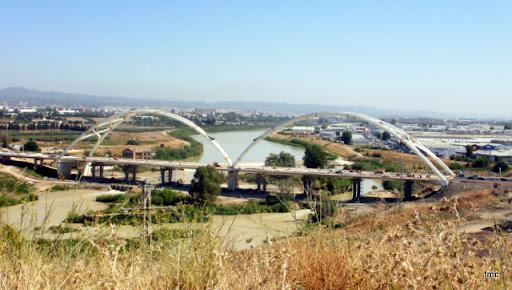 Una vista completa desde el talud del meandro del Guadalquivir.