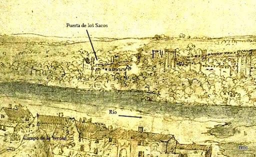 Dibujo de Wyngaerde Puerta de los sacos, 1657.
