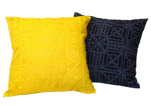 Cotton cushion cover in yellow and blue