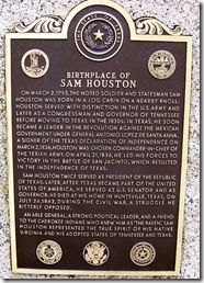 Birthplace of Sam Houston Bronze Marker (Click to Enlarge)