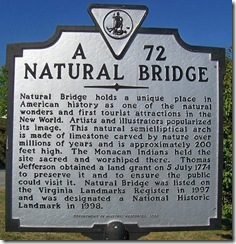 Natural Bridge Marker A-72 (Click to Enlarge)
