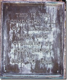 Plaque located on foundation of the Tannery