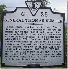 General Thomas Sumter Marker G-25 VA