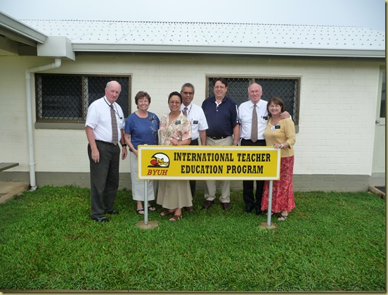 Elder and Sister Hawley, Elder and Sister Sing, Dr. John Bailey BYU-Hawaii, and Elder and Sister Carlston the South Pacific ITEP Coordinators from NZ pose in from of our ITEP office and newly displayed sign.