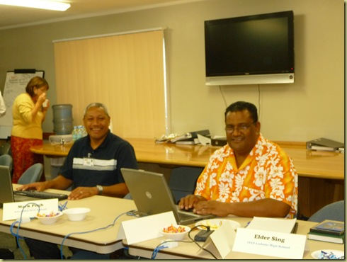 Vito (Principal from Fiji) and Inoke Kupu (our stake president and CES country director) smile greetings