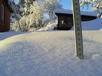 13 Dec 2008 45 cm snö. Antagligen rekord under tiden vi bott här...