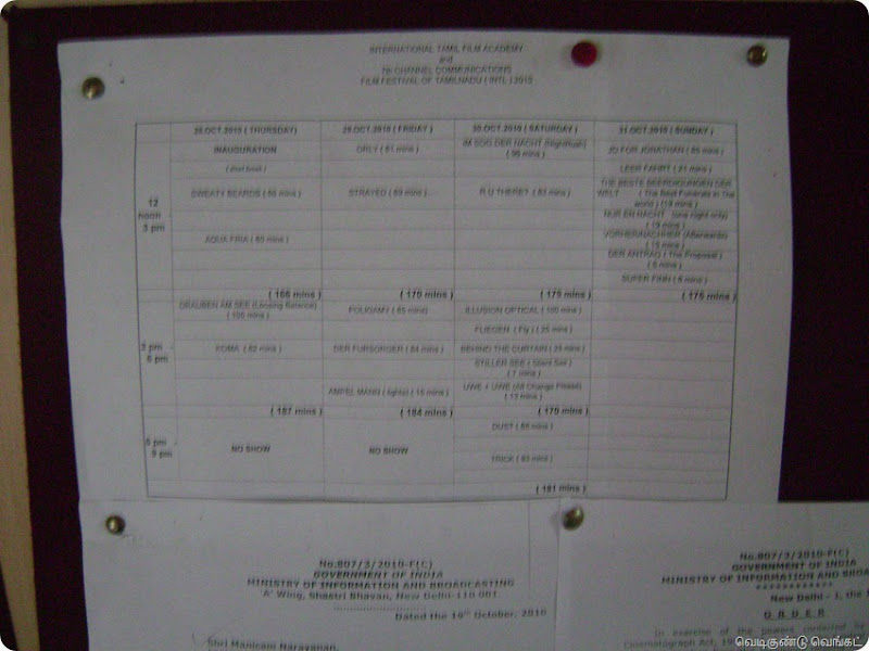 FFOTNI 28102010 Film Time Table