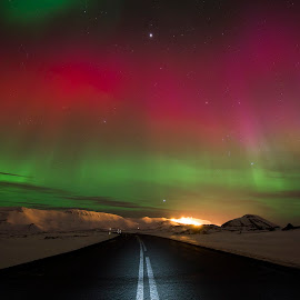on my way home by Viktoras Kaubrys - Landscapes Starscapes ( iceland, colors, aurora, night, road, northern light,  )