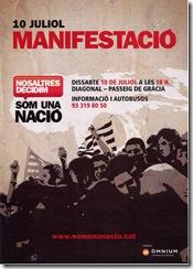Politica Cartel de la convocatoria de Manistación en apoyo del Estatu el 10 de Julio 2010