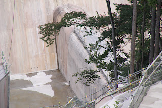 右岸の高台より副ダムを望む