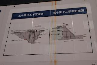 五十里ダム下流面図・標準断面図