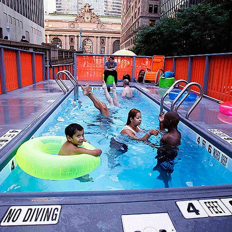 Garbage Dumpster Swimming Pools on the Streets of New York