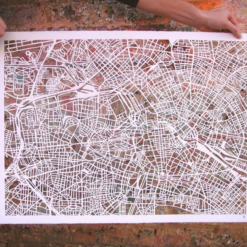 Extremely Detailed Paper Cut-Out Maps by Karen M. O'Leary