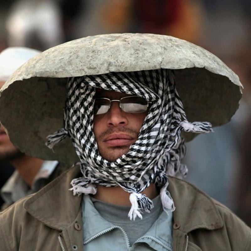Funny Headgear at Egypt Protest