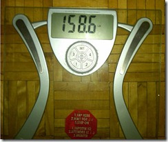 Weigh in for Monday, March 22 - 158.6lbs