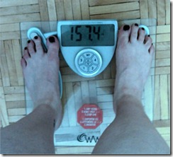 weigh-in for April 5, 2010 - 157.4lbs