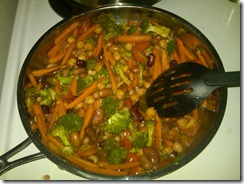 Pasta Bean Toss in the pan - Beans, broccoli, carrots, tomatoes and...other stuff. mmmm