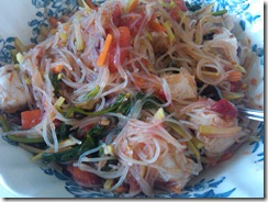 Spinach Rice Vermicelli with pork, tomatoes, broccoli slaw and spinach
