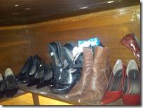 Crappy BB photo showing some of the shoes on my hidden desk shelf