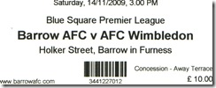 Barrow vs Dons ticket